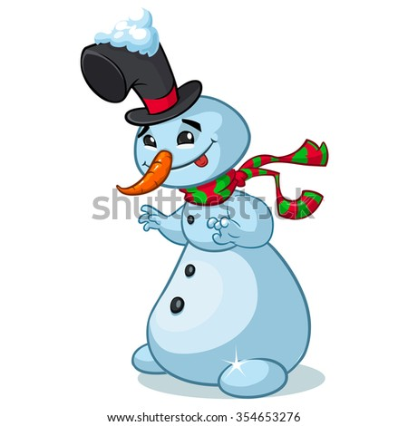 Christmas snowman with hat and striped scarf isolated on white background. Vector illustration - stock vector