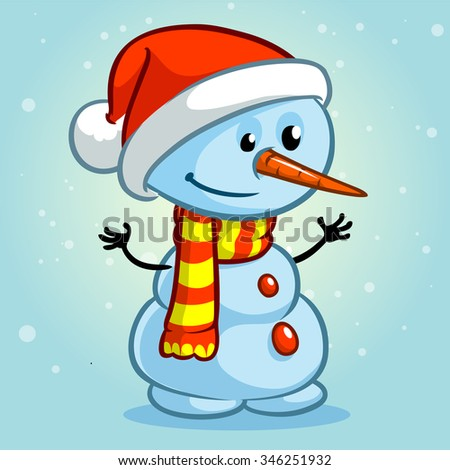 Christmas snowman with Santa hat and striped scarf isolated on snowy background. Vector illustration - stock vector