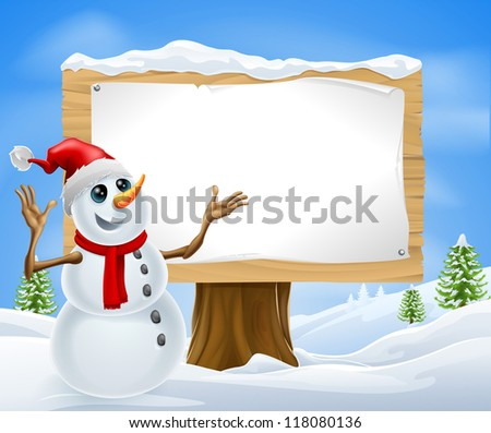 Christmas snowman with Santa hat in snowy landscape with sign - stock vector