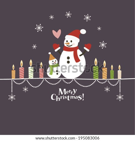 Christmas snowmen and candles - stock vector