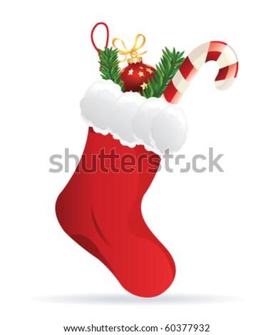 christmas sock - stock vector