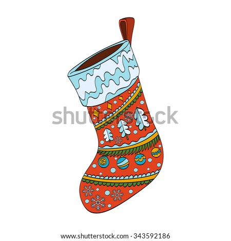 Christmas sock decorated. Isolated on white background. Vector hand drawn illustration - stock vector