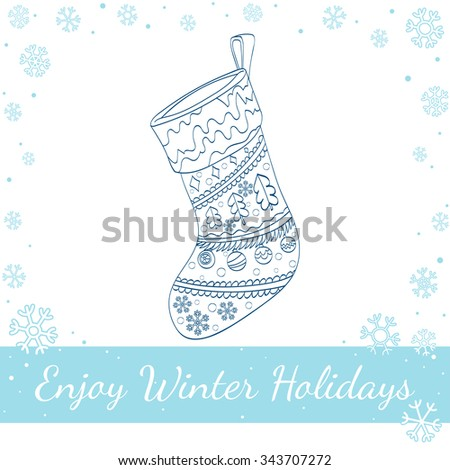 Christmas sock decorated. Isolated on white background. Vector hand drawn line art illustration - stock vector