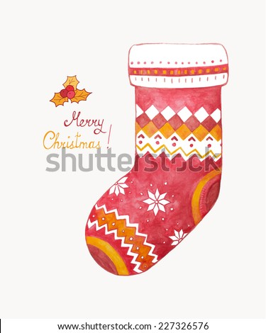 Christmas sock. Watercolor. Vector illustration. Isolated. - stock vector