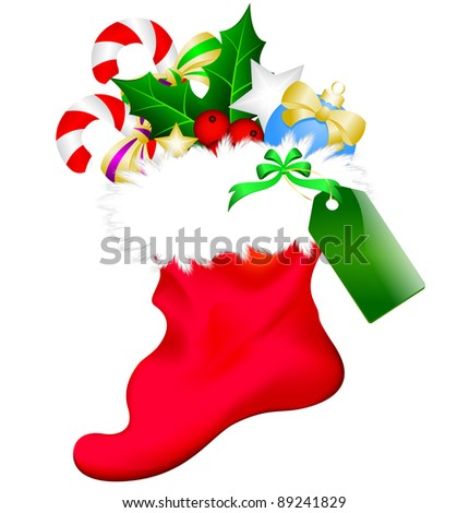 Christmas sock with a label full of mistletoe, candy and balloon