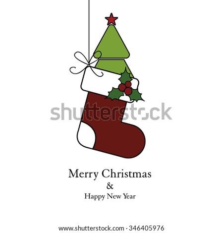 Christmas socks and christmas tree - stock vector