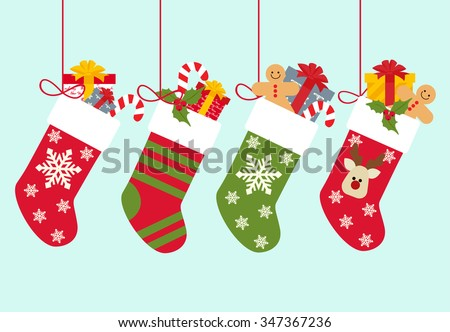 Christmas socks with gifts - stock vector