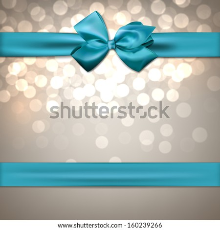 Christmas sparkle background with blue bow. Vector eps10. - stock vector