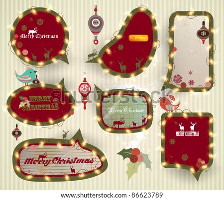 Christmas speech bubbles set with garland, EPS10 vector - stock vector
