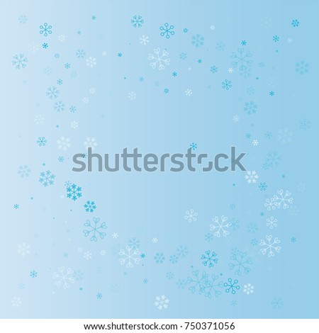 Christmas square border or frame with random scatter falling blue snowflakes on a blue background.