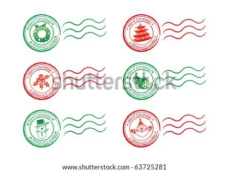 Christmas stamp - stock vector