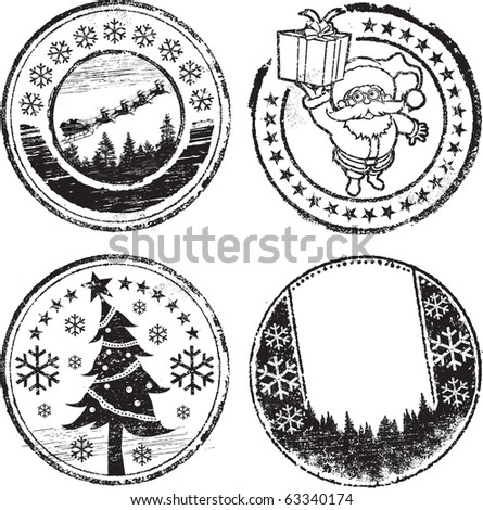 Christmas stamp set - stock vector