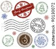 Christmas stamp set isolated on white. Vector - stock vector