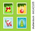 Christmas stamps - stock vector