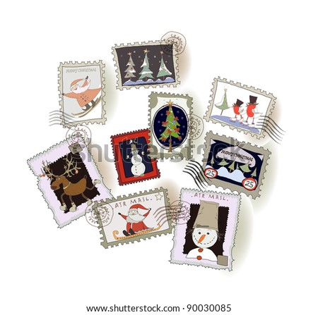 Christmas stamps collection - stock vector