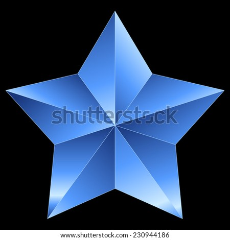 Christmas Star blue metal isolated on black background