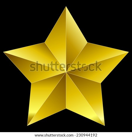 Christmas Star golden isolated on black background - stock vector