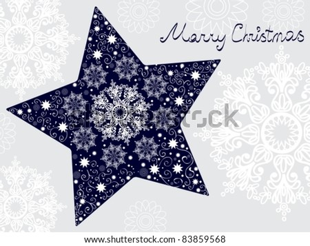 Christmas star illustration - postcard with a star over gray background with snowflakes - stock vector