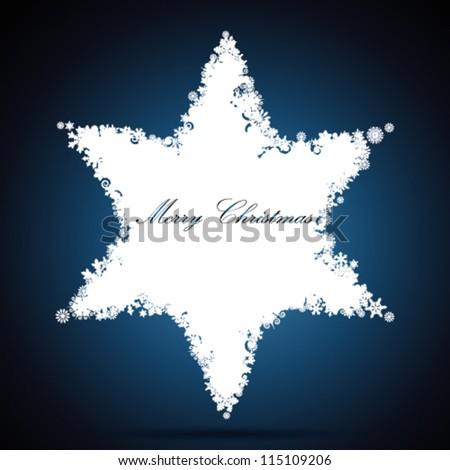 Christmas star, snowflake design background. - stock vector
