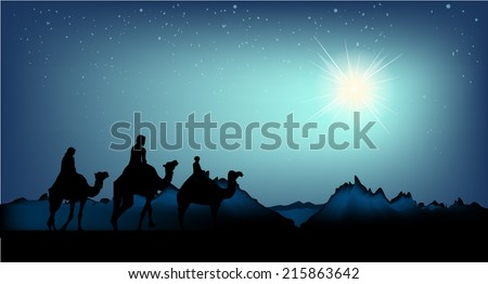 Christmas Star. Three wise men.  Vector - stock vector