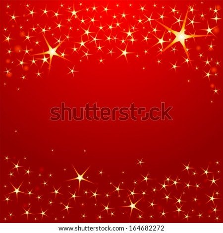 Christmas stars on red background  - stock vector