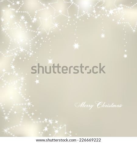 Christmas stars on silver background. Vector - stock vector