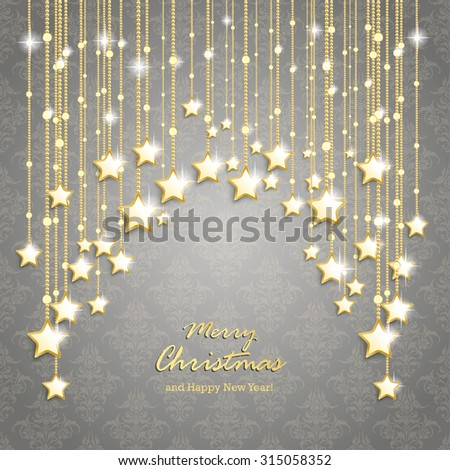 Christmas stars on the gray background with ornaments. Eps 10 vector file. - stock vector