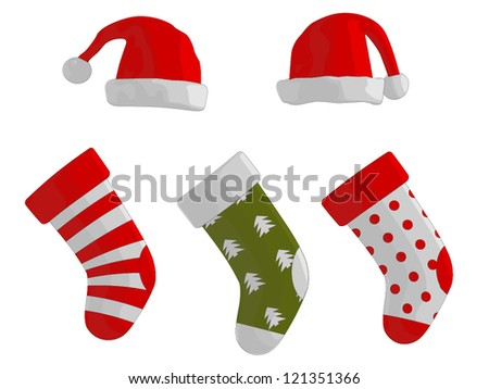 Christmas Stockings and Hats - stock vector