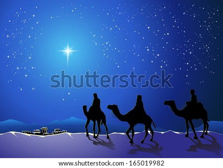 Christmas story. Three wise men go for the star of Bethlehem - stock vector