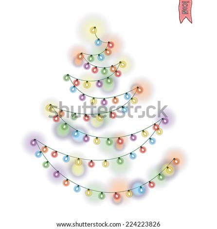 Christmas string lights. vector illustration. - stock vector