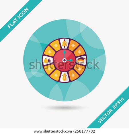 Christmas style clock flat icon with long shadow eps10 - stock vector