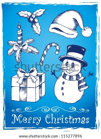 Christmas stylized drawings 2 - vector illustration.