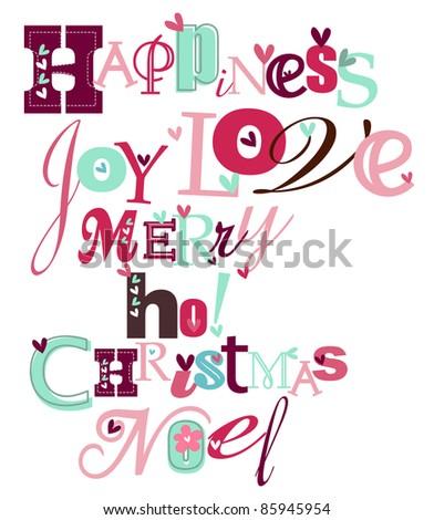 Christmas stylized typography - stock vector