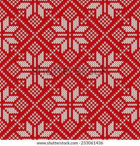 Christmas sweater design on the wool knitted texture. Seamless pattern - stock vector