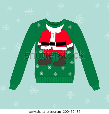 Christmas sweater on blue background with snowflakes - stock vector