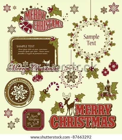christmas symbols - stock vector