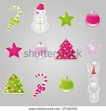 Christmas Symbols And Elements, Stickers Set, Vector Illustration - stock vector