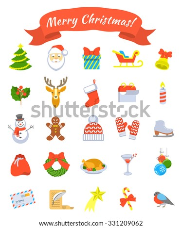 Christmas symbols flat vector icons set. Winter holiday season conceptual design elements. Kids winter vacation fun and celebration illustrations for website, mobile or computer apps, infographics - stock vector
