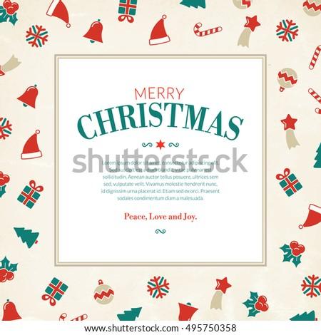 Christmas Symbols Greeting Card Xmas Pictograms Stock Vector