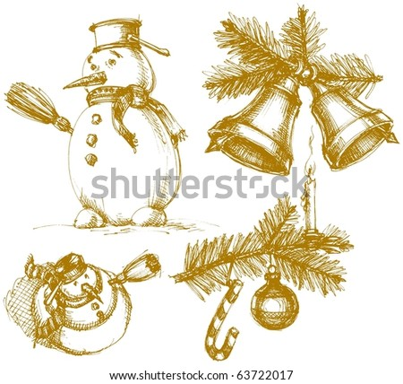 Christmas symbols in vintage style - stock vector