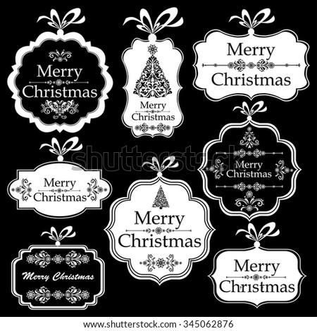 Christmas Tag. Collection of Christmas design elements isolated on black background. Vector illustration  - stock vector