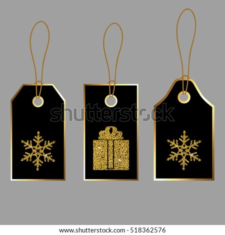 Christmas tag collection. Sale promotion and gift card vectors in different shapes.