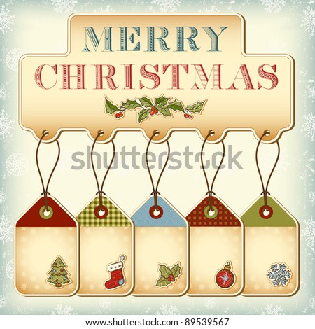 Christmas tags and vintage lettering Merry Christmas - stock vector