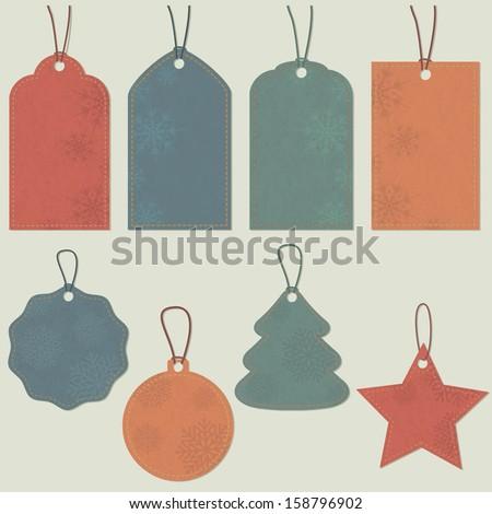 Christmas tags. Vector set, EPS 8. - stock vector