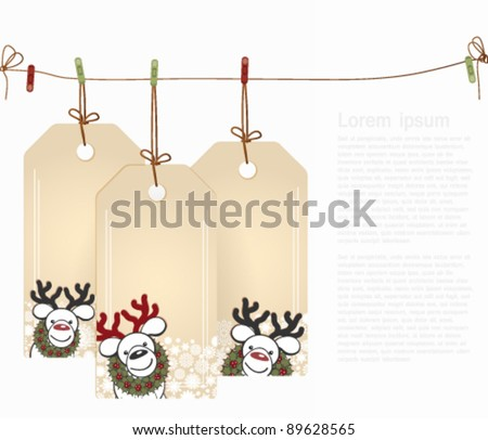Christmas tags with elements of the Christmas decor. - stock vector