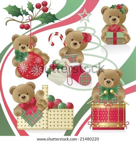 Christmas Teddy Bears - stock vector
