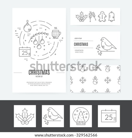Christmas template for business cards, greeting cards, flyers and stickers. Christmas symbols including christmas balls, snowflakes. Vector template. - stock vector