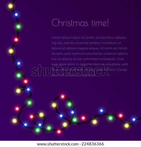Christmas template for congratulation with garland. Invitation. Christmas card. Christmas template. Border  - stock vector