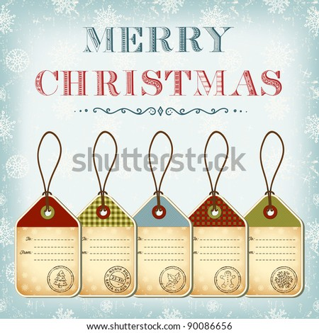 Christmas template of vintage tags with stamps - stock vector