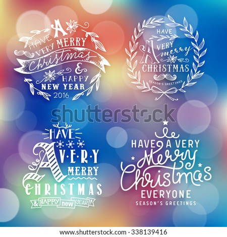 Christmas text illustration set on blurred background - stock vector